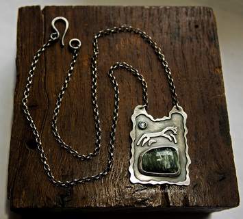 Uffington White Horse Sterling Silver Pendant with Moonstone and Seraphinite