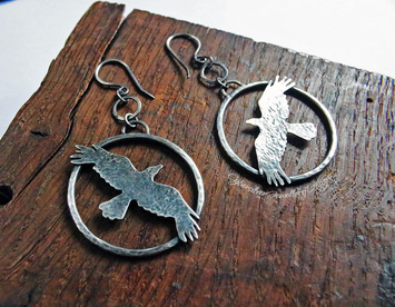 Tiny hand cut Sterling Silver leaping hare earrings with turquoise beads