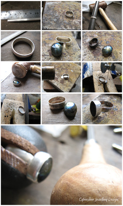 Construction of a handcrafted silver and labradorite ring
