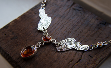 Silver hare and amber handmade necklace