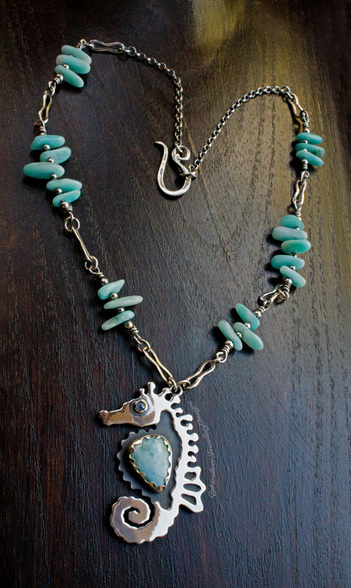 Sterling silver seahorse necklace with larimar and sapphire
