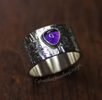 Amethyst and Silver Wide Textured Ring