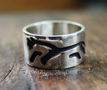 Uffington white horse sterling silver ring