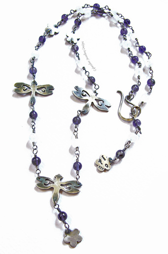 Sterling Silver Dragonfly and flowers necklace set with moonstone and iolite