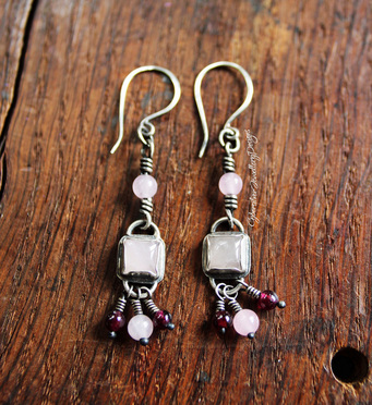 Sterling silver, rose quartz and garnet dangly boho earrings