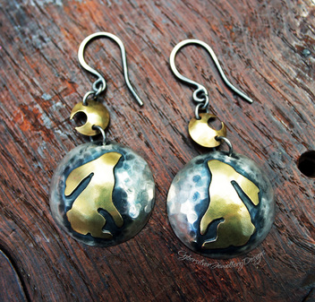 Silver and brass moon gazing hare earrings