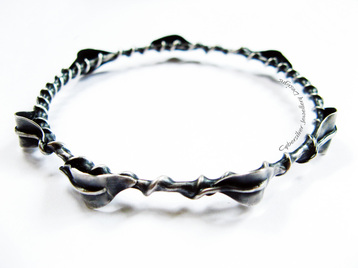 Sterling Silver and fine silver leaf and vine one-of-a-kind bangle