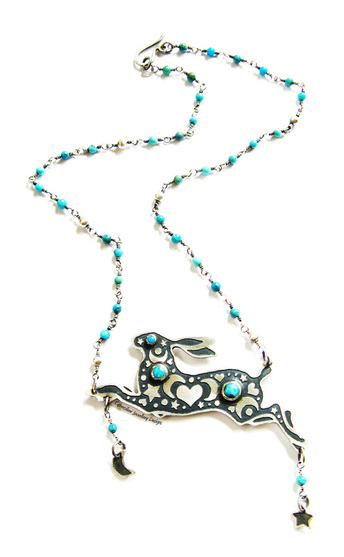 Sterling silver and genuine turquoise leaping hare pendant necklace decorated with triple moons, hearts and stars