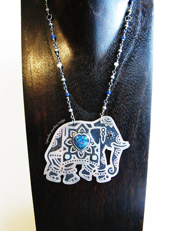 Sterling silver and opal and sapphire hindu elephant pendant