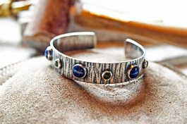 Solid Brass and Blue Goldstone Bangle
