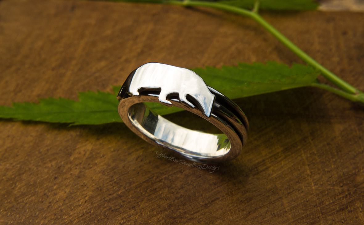 Chunky silver woodland rings