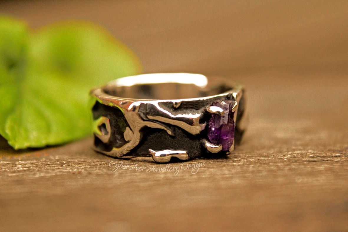 Uncut raw amethyst fused silver ring size O 1/2