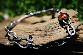 Rustic silver and amber bracelet