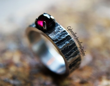 tree bark silver ring with garnet