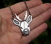 Deer Head Silver Pendant