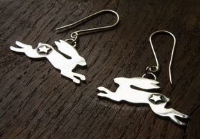 Large silver hare earrings