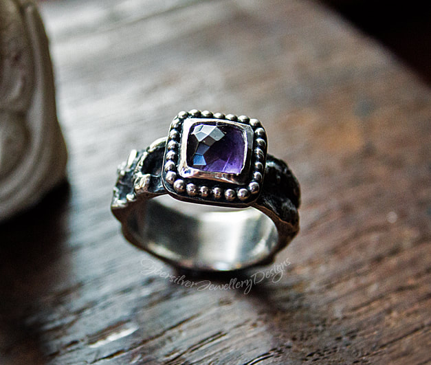 Large amethyst and fused silver one of a kind ring