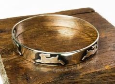 Leaping Hare Silver Bangle