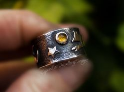Fox, Moon and Stars Silver and Citrine Ring
