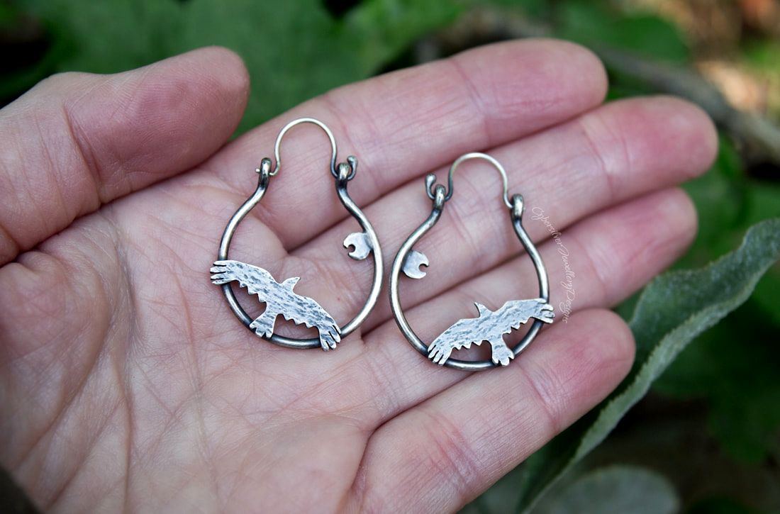 Sterling silver ivy and vine drop earrings