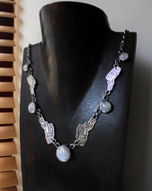 Silver hares and moonstone necklace