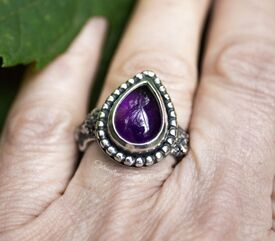 Organic fused silver ring with rose cut amethyst