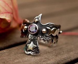 Mystic topaz gold and silver raven ring