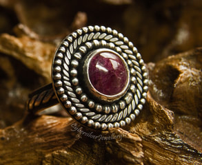 Boho silver and ruby ring