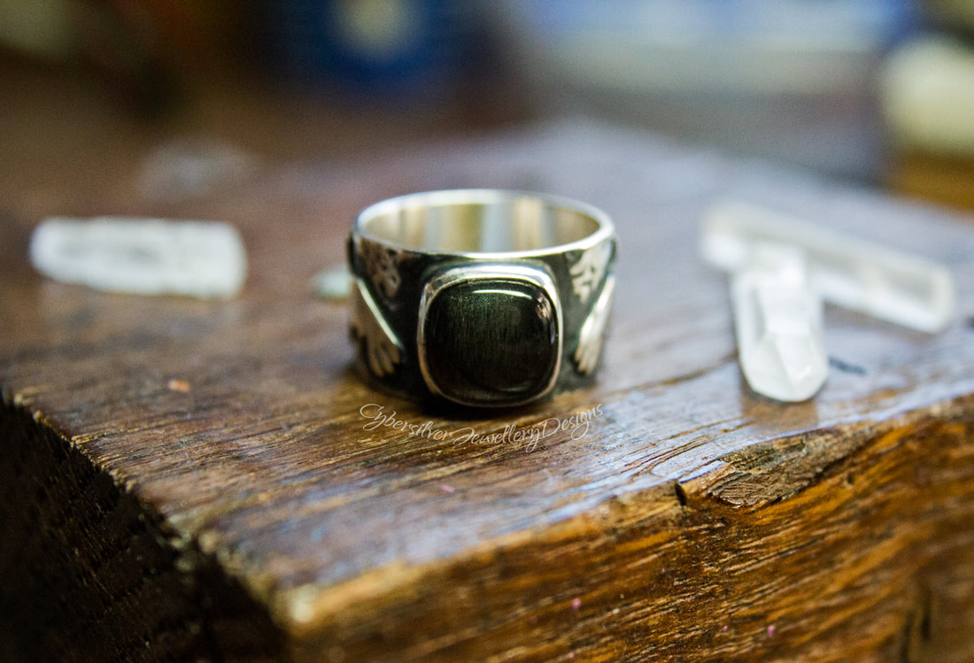 Raven silver and moonstone ring
