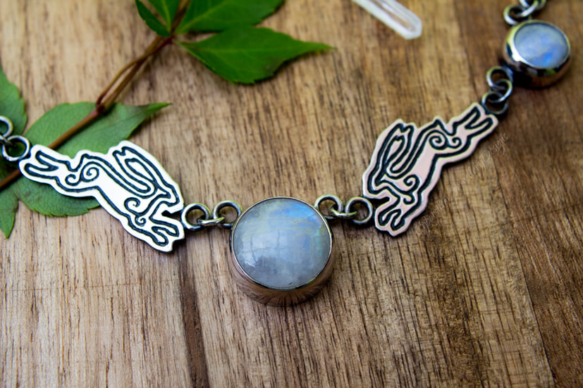 Silver hare and blue moonstone necklace